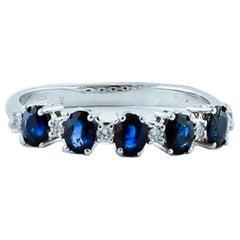 Diamonds, Blue Sapphires, 18 Karat White Gold Ring