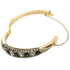 Diamonds, Blue Sapphires 18 Karat Rose Gold and Silver Bangle Bracelet