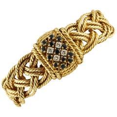 Diamonds, Blue Sapphires, 18 Karat Yellow Gold Bracelet with Secret Watch