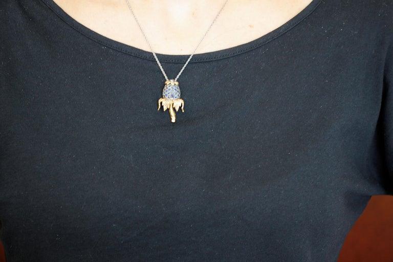 Diamonds, Blue Sapphires, 9 Karat Rose Gold and Silver Pendant Necklace For Sale 1