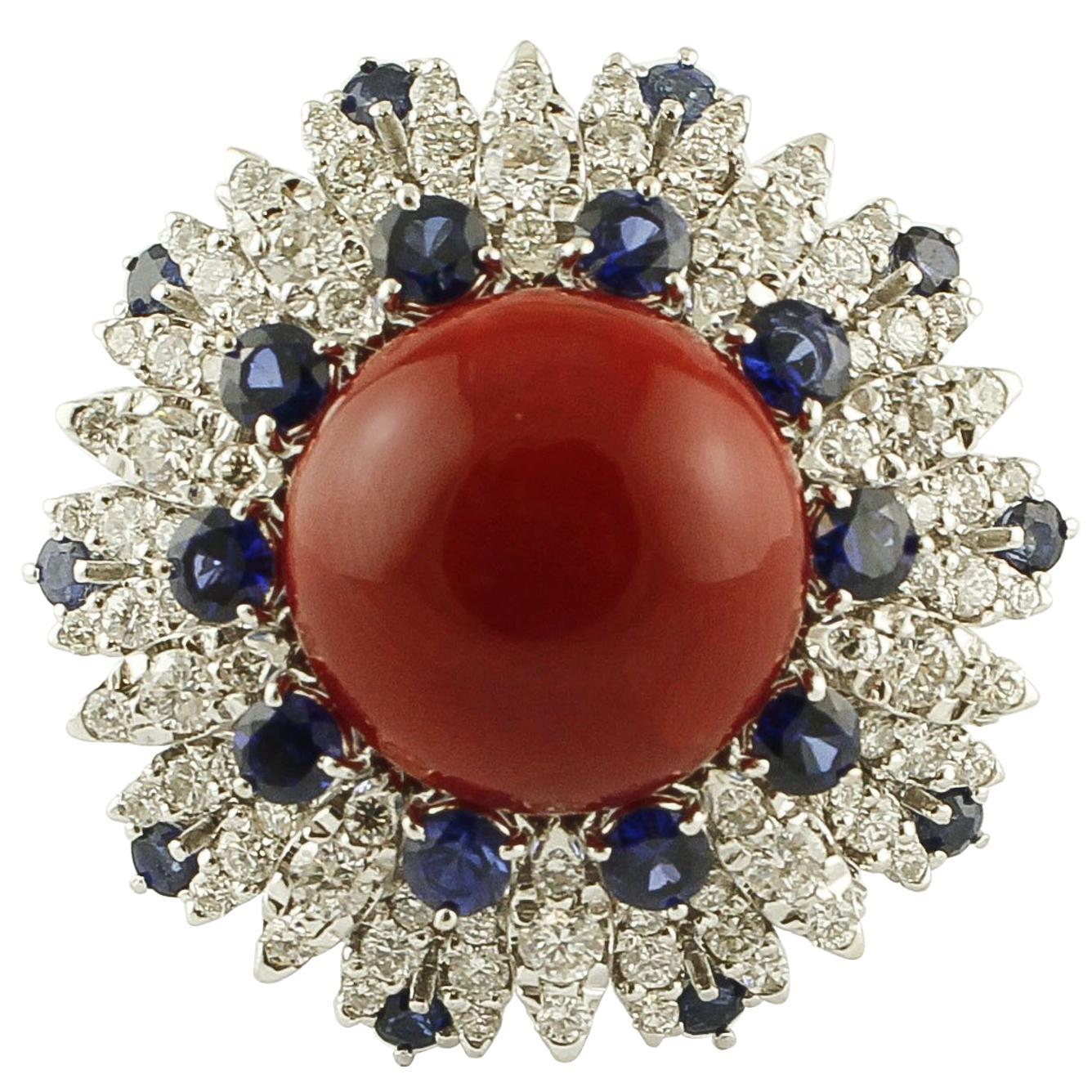 Diamonds, Blue Sapphires, Red Coral Button, 14 Karat White Gold Ring