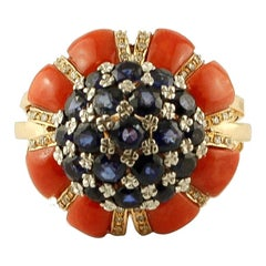 Diamonds, Blue Sapphires, Coral, 14 Karat Yellow Gold Ring