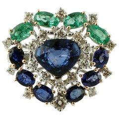 Diamonds, Blue Sapphires, Emeralds, 14 Karat White Gold Heart Ring