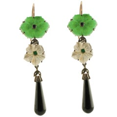 Diamonds Blue Sapphires Emeralds Onyx Green Agate Mother-of-Pearl Earrings