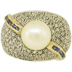 Diamonds Blue Sapphires Pearl Rose Gold and Silver Band Ring