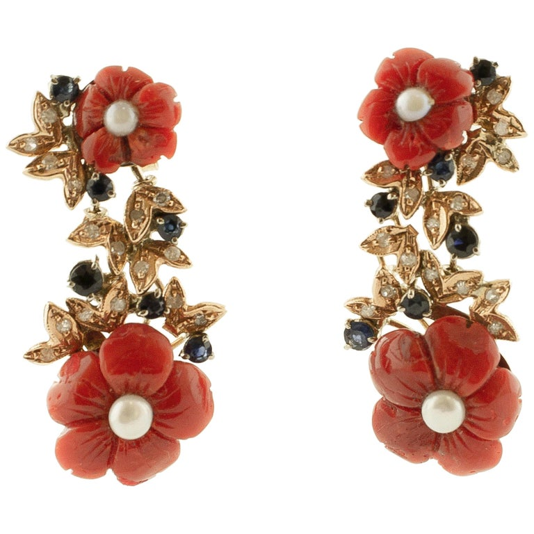 Diamonds, Blue Sapphires, Red Coral Flowers, Pearls, 14 Karat Gold Stud Earrings For Sale