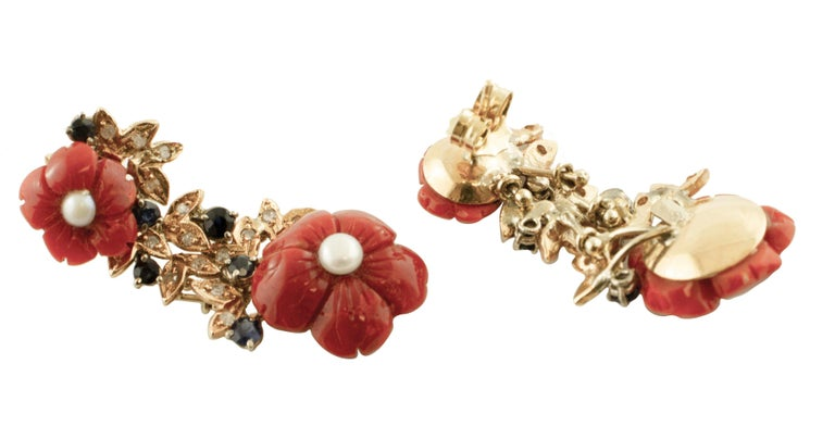 Retro Diamonds, Blue Sapphires, Red Coral Flowers, Pearls, 14 Karat Gold Stud Earrings For Sale