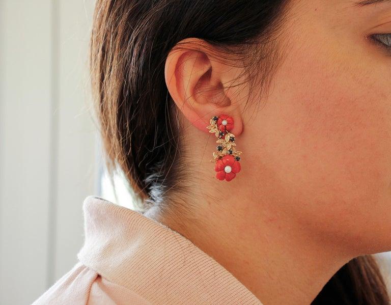 Women's Diamonds, Blue Sapphires, Red Coral Flowers, Pearls, 14 Karat Gold Stud Earrings For Sale