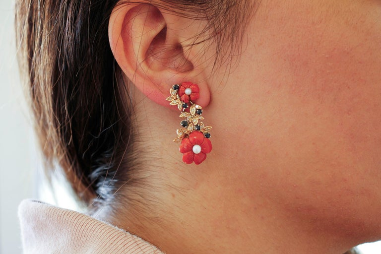 Diamonds, Blue Sapphires, Red Coral Flowers, Pearls, 14 Karat Gold Stud Earrings For Sale 1