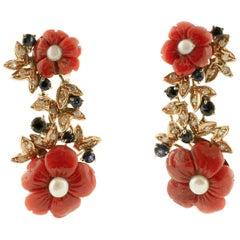 Diamonds, Blue Sapphires, Red Coral Flowers, Pearls, 14 Karat Gold Stud Earrings