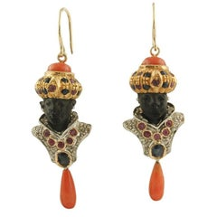 Diamonds Blue Sapphires Rubies Coral Bottoms and Drops Ebony Moretto Earrings