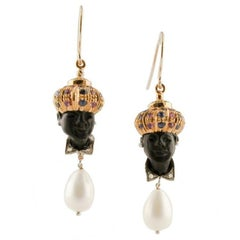 Diamonds Blue Sapphires Rubies Tsavorites Ebony Pearls Moretto Earrings