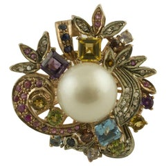 Diamonds Blue Sapphires, Ruby Topaz Amethyst Peridots Australian Pearl Ring