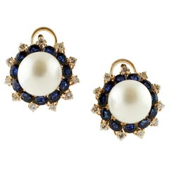 Diamonds, Blue Sapphires, South-Sea Pearls, 14 Karat Rose Gold Clip-On Earrings