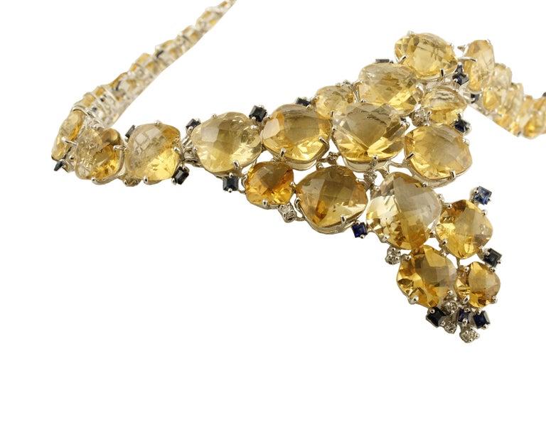 Retro Diamonds Blue Sapphires Topazes White Gold Necklace For Sale