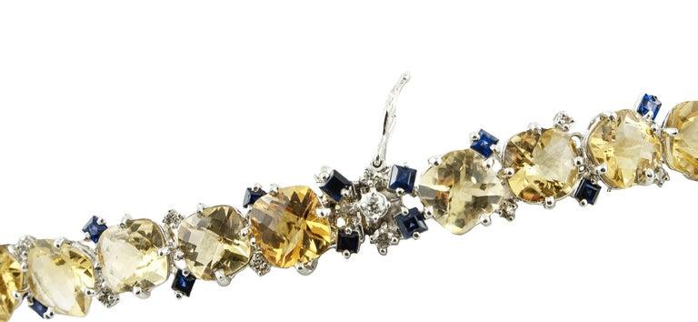 Women's Diamonds Blue Sapphires Topazes White Gold Necklace For Sale