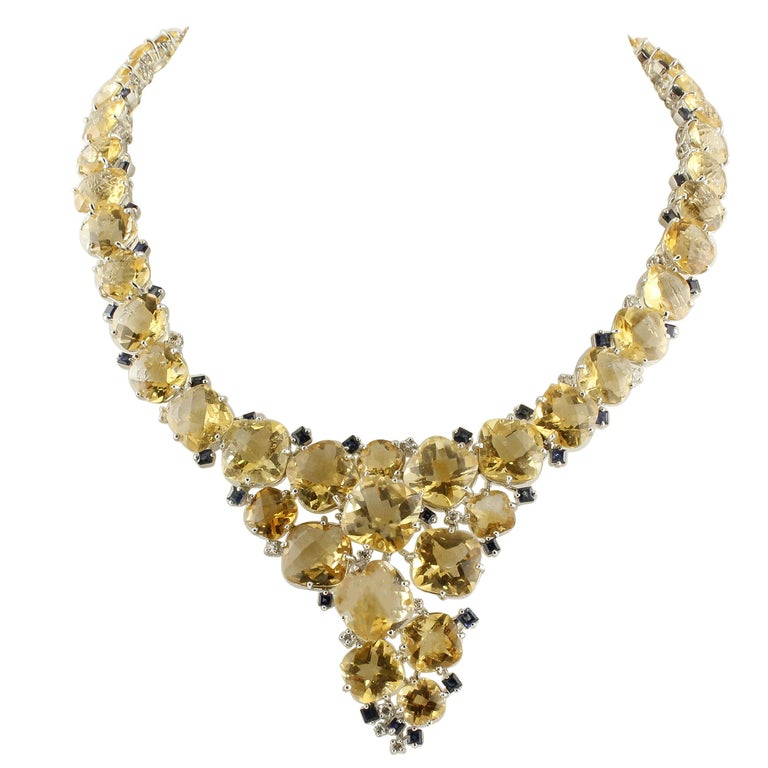Diamonds Blue Sapphires Topazes White Gold Necklace For Sale