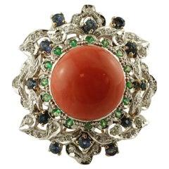 Diamonds, Blue Sapphires, Tsavorite, Coral 14 Karat White and Rose Gold Ring