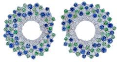 Diamonds, Blue Sapphires, Tsavorites, 18 Karat White Gold Earrings