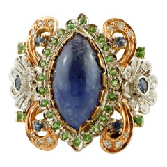 Diamonds, Blue Sapphires, Tsavorites, Tanzanite, 14K White and Rose Gold Ring