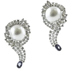 Diamonds, Blue Sapphires, White Pearls, 18 Karat White Gold Earrings