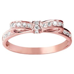 Diamonds Bow Ring 18 Karat Rose Gold