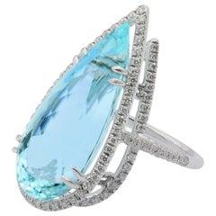 Diamonds Brazilian Aquamarine 18 KT White Gold Made in Italy Ring