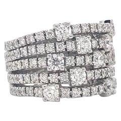 Diamonds Brilliant Cut on White Gold 18 Karat Bandeau Flexible Ring