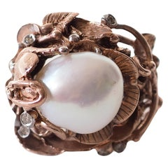 Diamonds Bronze Natural Pearl Ring