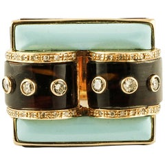 Diamonds, Brown Hard Stone, Turquoise Rose Gold Buckle Shape Fashion Ring