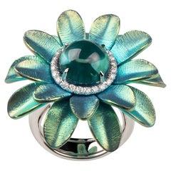 Diamonds Cabochon Tourmaline Green Titanium 18KT White Gold Happy Flower Ring
