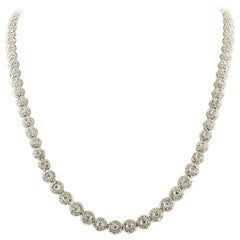 Diamonds Carat.11.70 Flowers White Gold Tennis Necklace