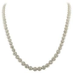 Diamonds Carat.11.70 Flowers White Gold Tennis Necklace