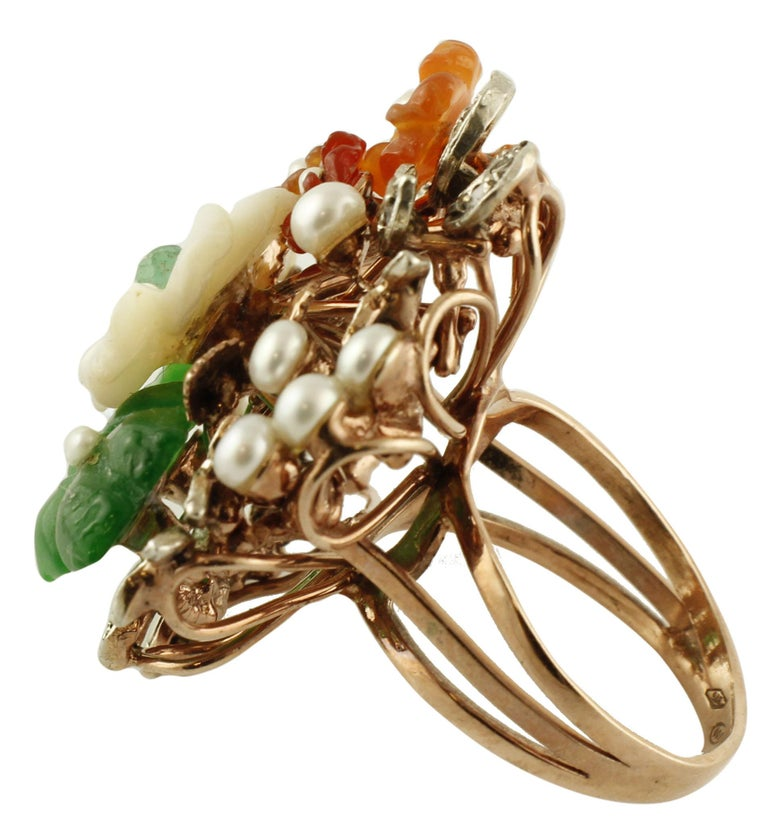 Retro Diamonds Carnelian Agate Mother of Pearl Emerald Rose Gold and Silver Ring For Sale
