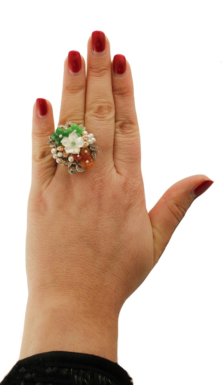 Diamonds Carnelian Agate Mother of Pearl Emerald Rose Gold and Silver Ring For Sale 1