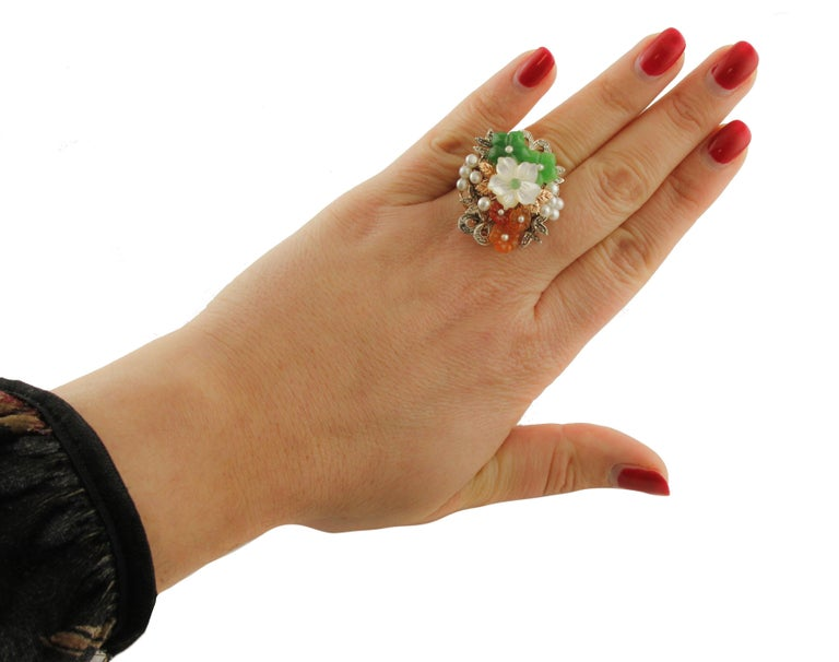 Diamonds Carnelian Agate Mother of Pearl Emerald Rose Gold and Silver Ring For Sale 2
