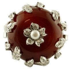 Diamonds, Carnelian, Pearl, 14 Karat White Gold Ring