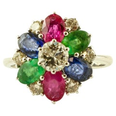 Diamonds, Central Diamond, Emeralds Rubies and Blue Sapphires 14 Karat Gold Ring