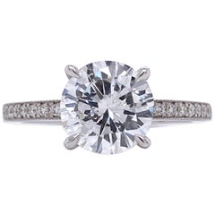 Diamond Certified 1.96 Karat Color E on White Gold 18 K Engagement Ring