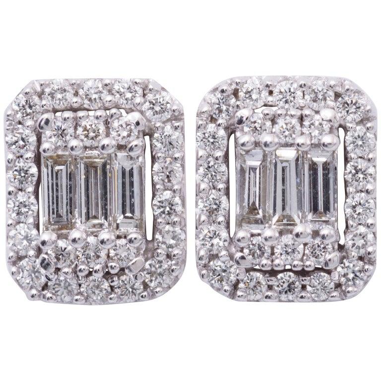 Diamonds Clusters Studs Earrings For Sale