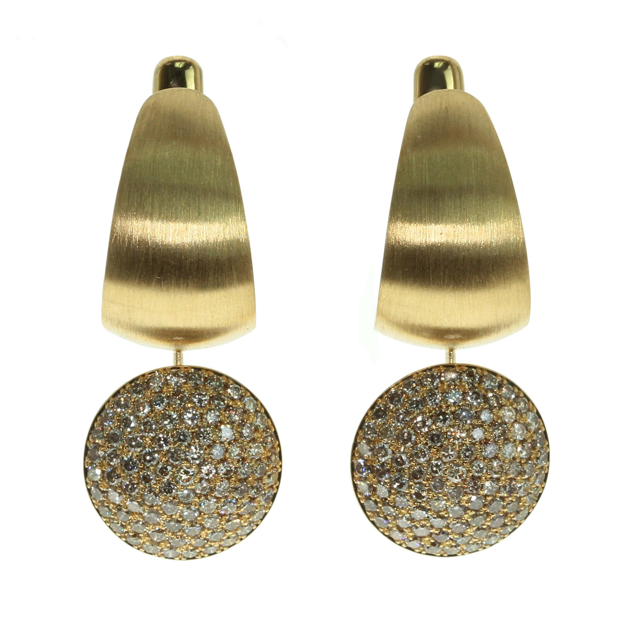 Diamonds Colored Enamel 18 Karat Yellow Gold Kaleidoscope Earrings