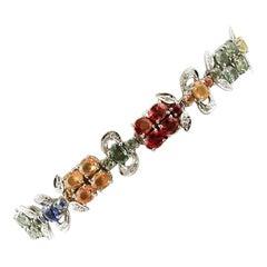 Diamonds, Colored Sapphires, 14 Karat White Gold Retro Link Bracelet