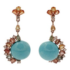Diamonds, Colored Sapphires, Turquoise, Rose Gold Dangle Earrings