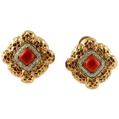 Diamonds, Coral, 14 Karat White and Rose Gold Clip-On Retrò Earrings