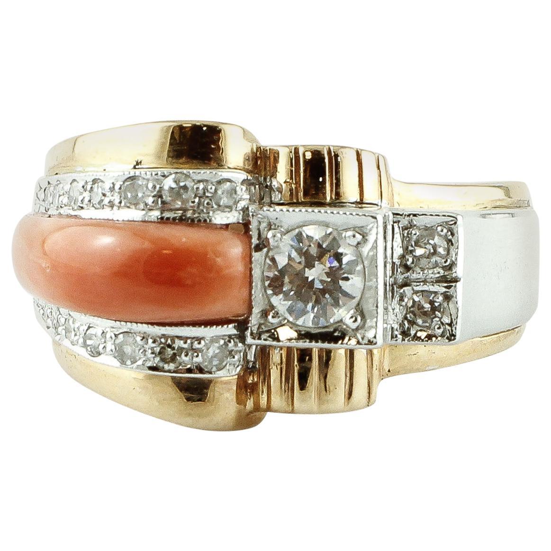 Diamonds, Orange Coral, 14 Karat White and Yellow Gold Retrò Ring