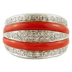 Diamonds, Coral, 18 Karat White Gold Band Ring
