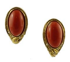 Diamonds, Coral, 18 Karat Yellow Gold Stud Earrings