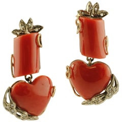 Diamonds, Red Coral, 9 Karat Rose Gold and Silver Retro Earrings