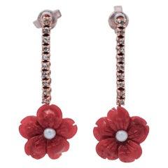 Diamonds, Coral Flower, Pearls, 9 Karat Rose Gold Dangle Earrings