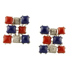 Diamonds, Coral, Lapis Lazuli, 14 Karat White Gold Earrings